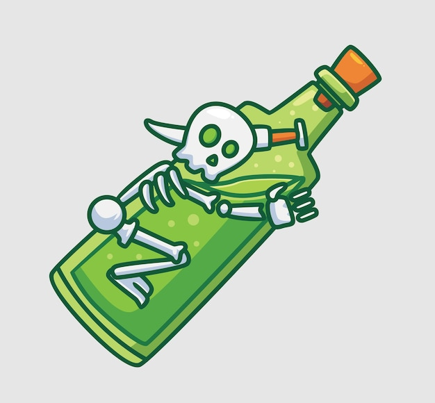 Милый скелет обнимает бутылку зелья изолированный мультфильм хэллоуин концепция иллюстрации плоский стиль