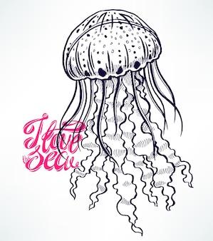 Милый эскиз медузы. рисованная иллюстрация
