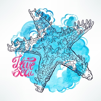 Cute sketch starfish on a blue watercolor background. hand-drawn illustration