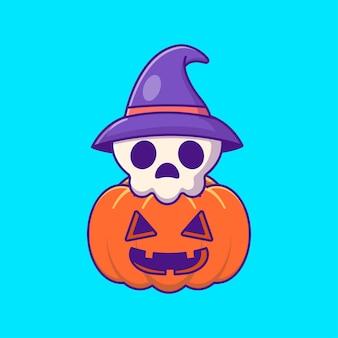 Милый череп и тыква счастливого хэллоуина с мультяшными иллюстрациями