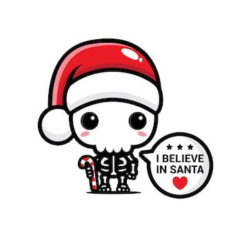 산타 클로스와 함께 믿는 귀여운 해골