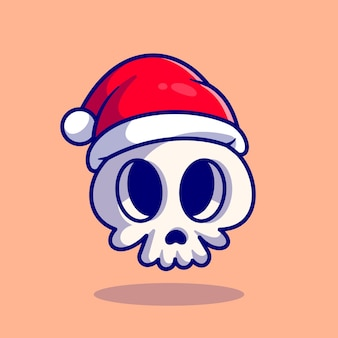 Cute skull caps cartoon illustration