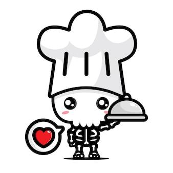 귀여운 해골 요리사 캐릭터 디자인