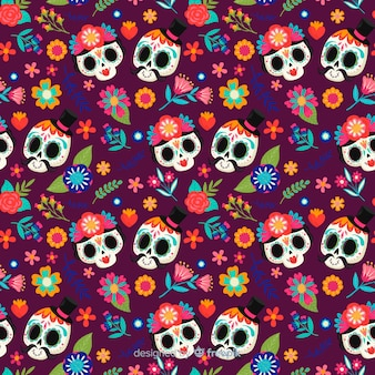 Cute skull couples hand drawn día de muertos pattern