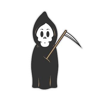 Cute skull grim reaper doodle cartoon