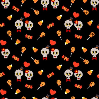 Cute skull and halloween candy seamless pattern.