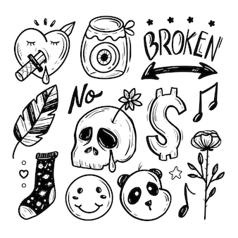 Cute skull hand drawing sticker collection
