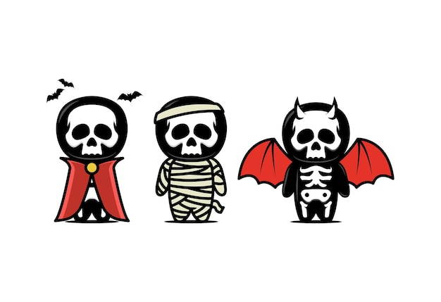 Cute skull mascot design illustration with halloween theme set