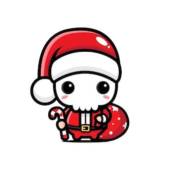 산타 의상을 입고 귀여운 해골