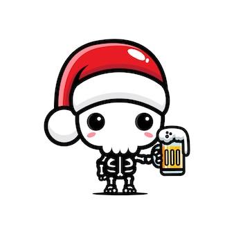 산타 모자를 쓰고 귀여운 해골