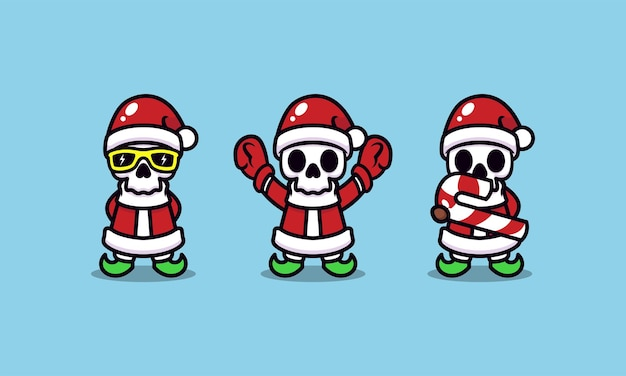 Cute skull with santa claus christmas costume