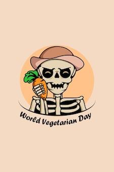 Cute skull with world vegetarian day cartoon illustration
