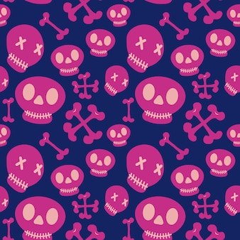 Cute skulls halloween pattern with girly colors