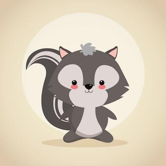 Cute skunk cartoon icon