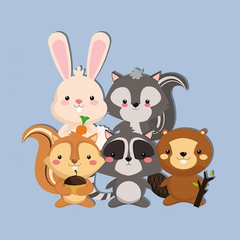 Cute skunk rabbit squirrel racoon and beaver image