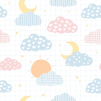 Cute sky cloud and stars cartoon seamless pattern