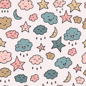 귀여운 하늘 패턴입니다. 미소, 잠자는 달, 별과 구름과 원활한 벡터 일러스트. 아기 그림입니다.