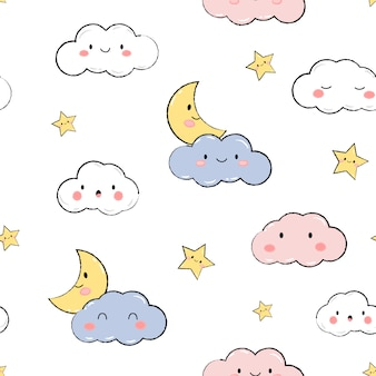 Cute sky stars clouds pastel cartoon doodle seamless pattern