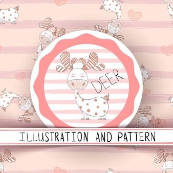 Cute sleep dino seamless pattern