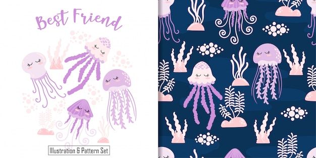 Cute sleep jellyfish card hand drawn seamless pattern set