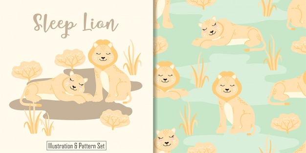 Cute sleep lion  card hand drawn seamless pattern set