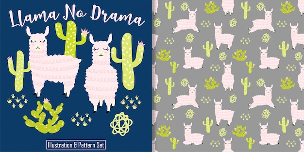 Cute sleep llama card hand drawn seamless pattern set