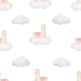 Cute sleep llama watercolor seamless pattern