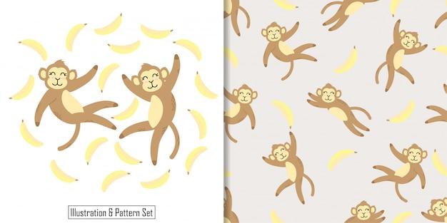 Cute sleep monkey card hand drawn seamless pattern set