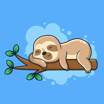 かわいい睡眠ナマケモノ漫画漫画アイコンイラスト。青い背景の上の動物アイコンの概念