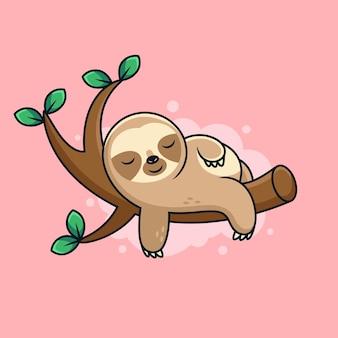 귀여운 포즈와 귀여운 수면 나무 늘보 만화. 만화 아이콘 그림입니다. 분홍색 배경에 동물 아이콘 개념
