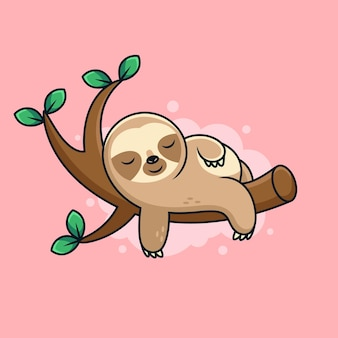 Cute sleep sloth cartoon with cute pose. cartoon  icon illustration. animal icon concept on pink background