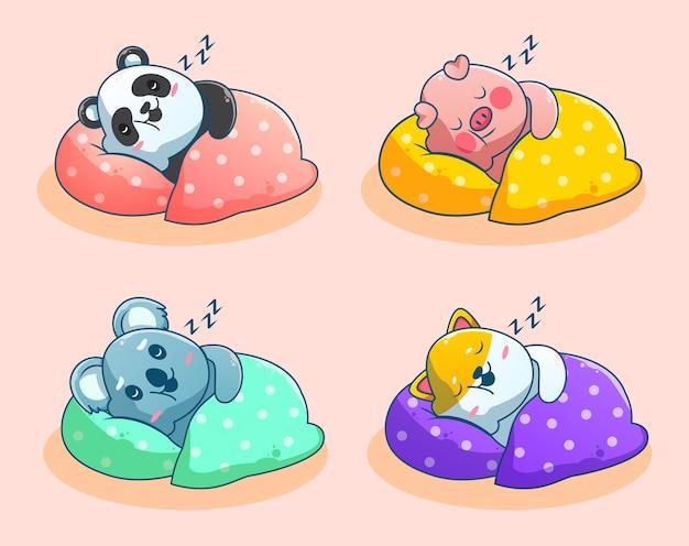 Cute sleeping animal cartoon set