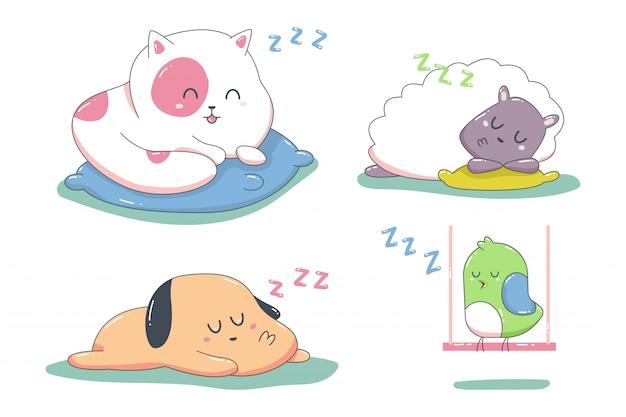 白い背景に分離されたかわいい眠っている動物漫画のキャラクターセット。