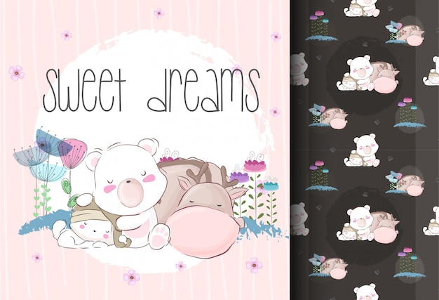Cute sleeping baby animals with seamless pattern