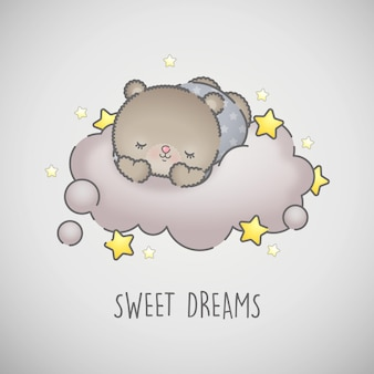 Cute sleeping baby bear on a grey cloud