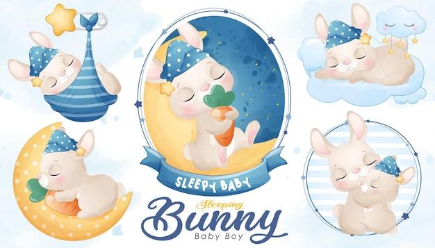 Милый спящий кролик с акварелью