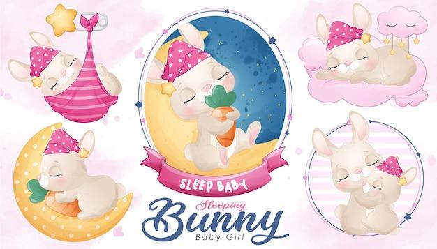 수채화와 귀여운 잠자는 아기 토끼