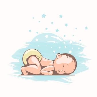 Милый спящий ребенок в мультяшном стиле, вид сбоку