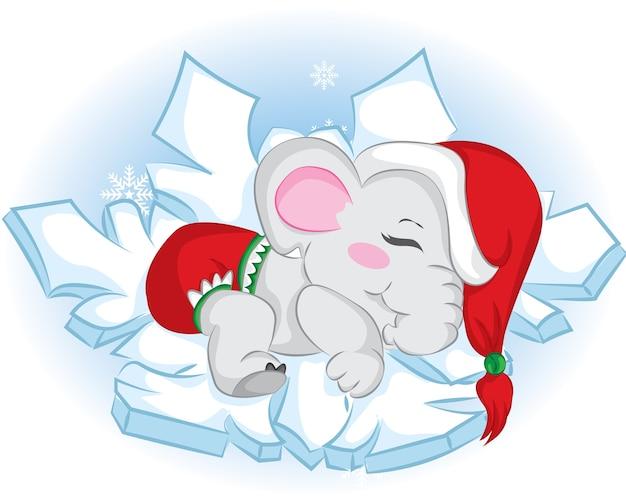 눈송이에 귀여운 잠자는 아기 코끼리.