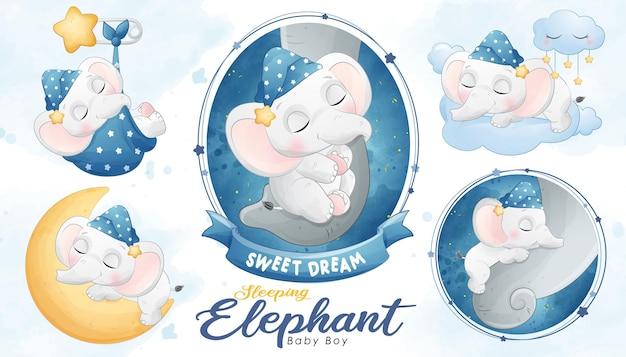수채화와 귀여운 잠자는 아기 코끼리