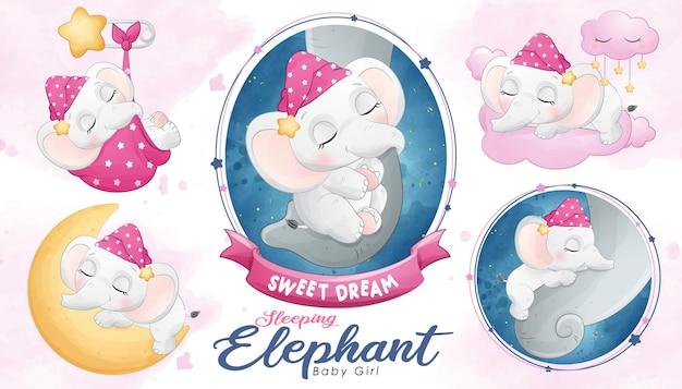 Милый спящий слоненок с акварелью
