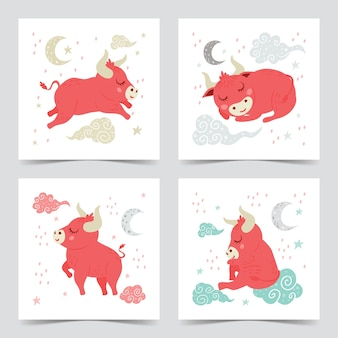 Милый спящий детеныш быка или иллюстрация быка