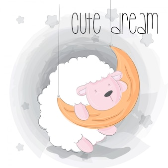 Cute sleeping baby sheep animal cartoon