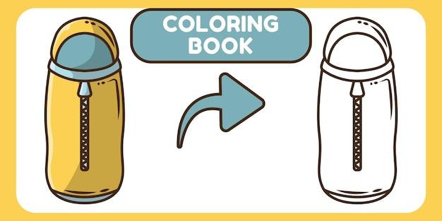 Cute sleeping bag hand drawn cartoon doodle coloring book for kids