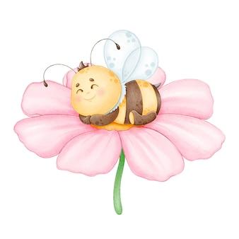 Милая спящая пчела на розовом цветке