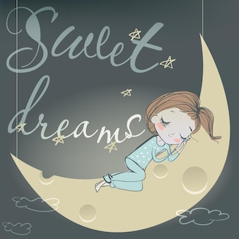 Cute sleeping cartoon girl on the moon