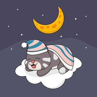 구름에 귀여운 잠자는 고양이