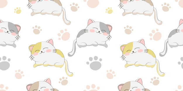 Cute sleeping cat seamless pattern