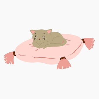 Cute sleeping cat vector illustration