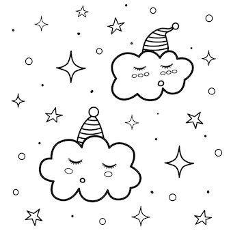 Cute sleeping clouds coloring page. black and white print with funny characters. good night background.
